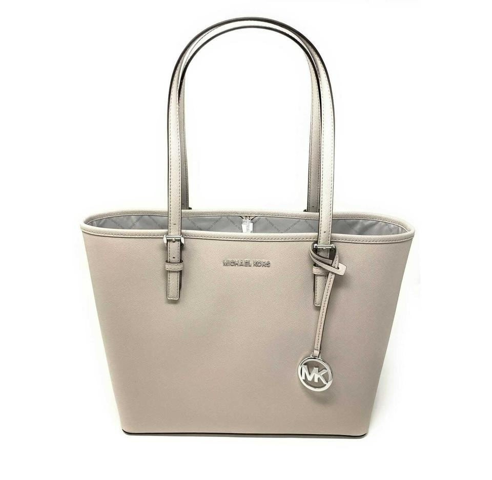 Michael Kors Bag Carryall Jet Set Travel Medium LeatherSignature Cement PvcLeather Tote 56% off retail