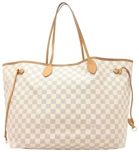 Louis Vuitton Neverfill Neverfold Neverfulled Neverfell Large Neverfull Tote in White