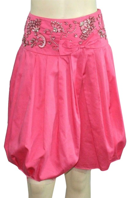Item - Pink Pleated Beaded Sequined Frayed Hem A-line Skirt Size 2 (XS, 26)