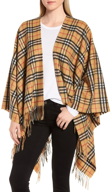 Preload https://img-static.tradesy.com/item/25455630/burberry-antique-yellow-bnwt-vintage-check-cashmere-wool-ponchocape-size-os-one-size-0-1-650-650.jpg