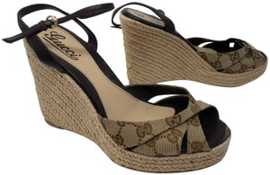 Gucci Ankle Strap Guccissima Gg Gold Hardware Monogram Brown Wedges