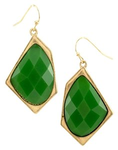 Other Green Gold Tone Polygon Stone Dangle Earring