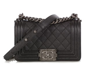Chanel Ch.q0410.12 Silver Hardware Black Quilted Cross Body Bag