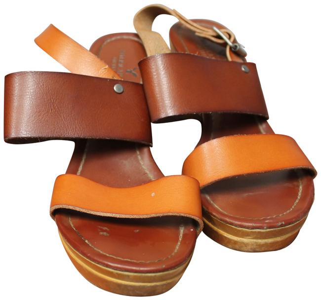 American Eagle Outfitters Brown and Tan Leather Banded Wedge Sandals Size US 7 Regular (M, B) American Eagle Outfitters Brown and Tan Leather Banded Wedge Sandals Size US 7 Regular (M, B) Image 1