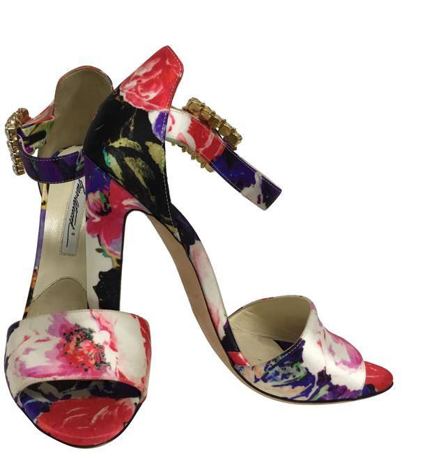 Item - Multi Color Floral Printed Silk with Crystal Buckle Sandals Size EU 38.5 (Approx. US 8.5) Regular (M, B)
