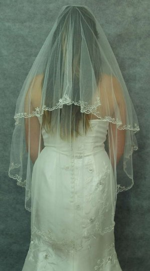 Diamond White Long Embroidered Flowers Had Sewn Beaded Edging Bridal Veil