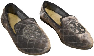 Tory Burch Velvet Quilted Loafers Slippers Silver Flats