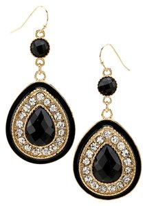 Black Gold Tone Tear Drop Acrylic Stone & Rhinestone Hook Earring