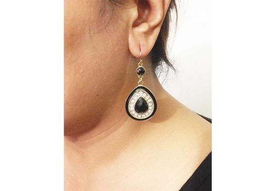 Other Black Gold Tone Tear Drop Acrylic Stone & Rhinestone Hook Earring