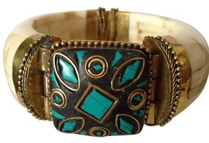 My Closet-Embellished by Leecia Tibetan Inspired Bracelet with Turquoise and Gold Stones