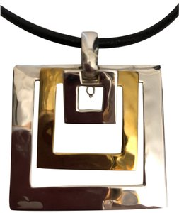 Robert Lee Morris Hammered Geometric Square Necklace