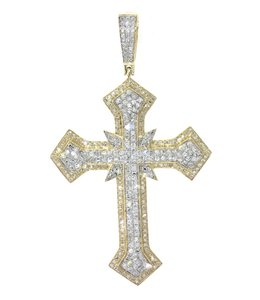 Yellow Gold Diamond Cross Pendant For Men 10k 1.77ct Necklace