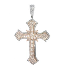 Rose and White Gold Diamond Cross Pendant For Two Tone 10k Necklace