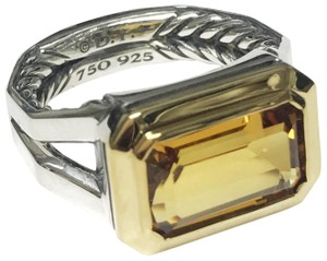 David Yurman Silver Novella Statement Ring with 18K Gold And Citrine