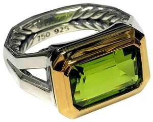 David Yurman Sterling Silver Novella Statement Ring with 18k Gold and Peridot