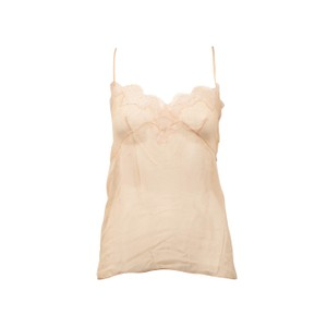 Valentino Sleeveless Strappy Sheer Lace Lace Trim Top Blush Pink