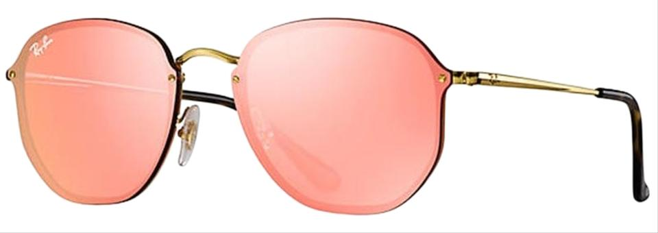 0728b07b2 Ray-Ban Gold Frame & Pink Mirrored Lens Unisex Square Sunglasses ...