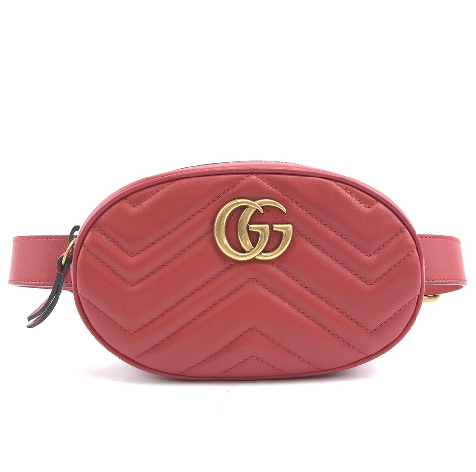 cabfce177 Gucci Marmont Bum #30037 Rare Gg Logo Waist Fanny Pack Red Leather ...