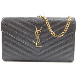 Saint Laurent Leather Wallet Chain Clutch Flap Cross Body Bag