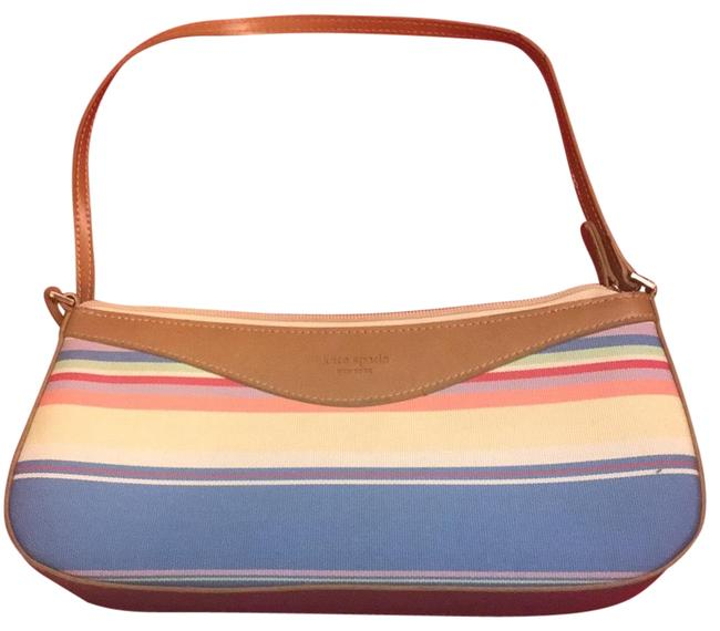 Item - Multicolored Blue Yellow Pink Green Lavender Leather Trimmed Baguette