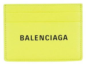 d5dbfc1604d Balenciaga NIB Balenciaga Fluorescent Yellow Leather Printed Logo Card  Holder