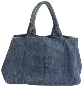 Prada Mint Condition Two-way Style Tote/Cb/Shoulder Canapa Emblem Satchel in dark rinse blue heavy denim with XL PRADA logo on one side