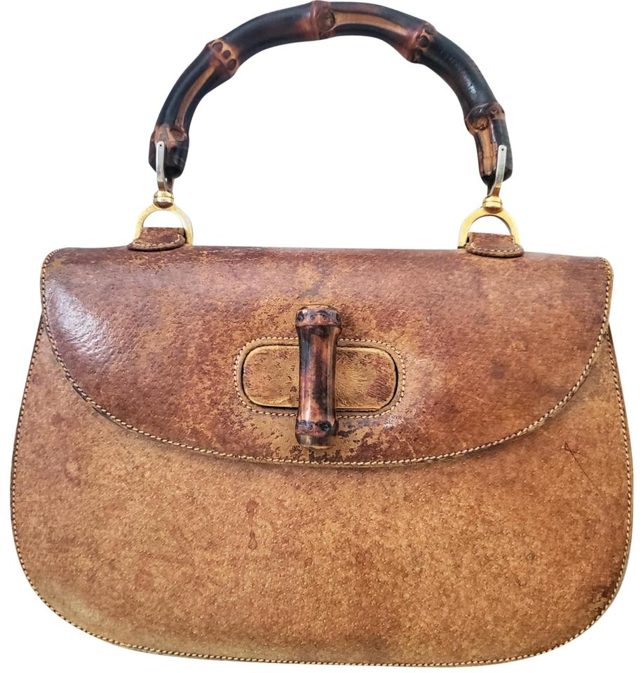 c1b37c6976e3 Gucci Vintage Bamboo Brown Pig Leather Satchel - Tradesy