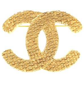 Chanel RARE CC Woven textured hardware gold Brooch pin charm