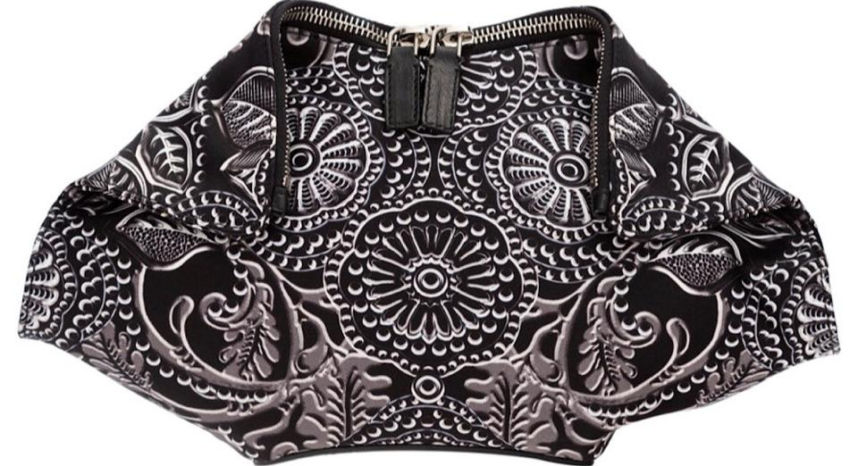 436d4d64d Alexander McQueen Satin Demanta Black and White Clutch Image 2. 123