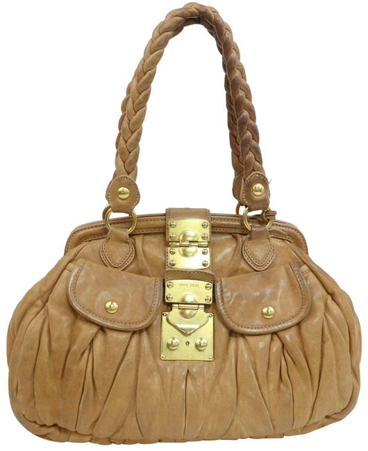 Item - 'matelasse' Style Tan Pleated Leather and Gold Hardware Satchel