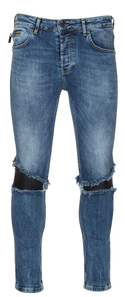 483810ff611 Frankie Morello Blue Men's 'salomon' Distressed Biker Skinny Jeans ...