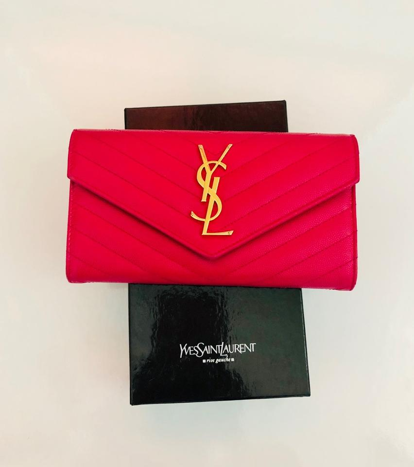 d0dc250dd24 Saint Laurent Fuchsia Pink Monogram Ysl Leather Large Flap Continental  Wallet - Tradesy