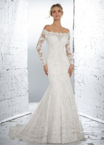 d82224f57b60 Mori Lee White Lace and Tulle Over Satin 1717 Vintage Wedding Dress Size 12  (L