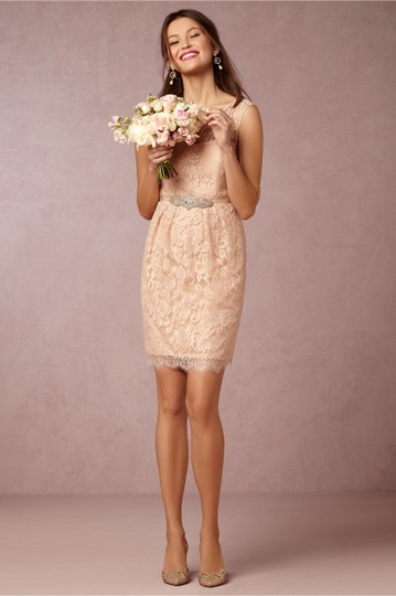 BHLDN Blush Pink Lace Harlow Jenny Yoo Feminine Bridesmaid/Mob Dress Size 4 (S) Image 1
