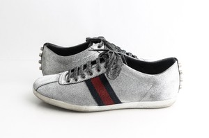 Gucci Silver Glitter Web Sneaker with Studs Shoes