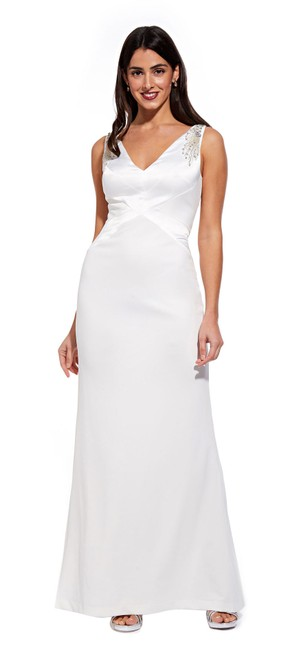 Item - Ivory V-neck Crepe Charmeuse Gown Beaded Applique Long Formal Dress Size 10 (M)