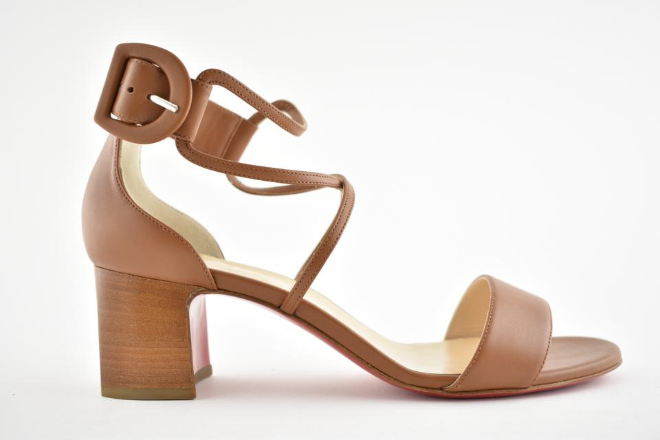 size 40 3a3fa 45ac9 Christian Louboutin Brown Choca 55 Cannelle Strappy Calf Leather Sandal  Cuoio Block Heel Pumps Size EU 39 (Approx. US 9) Regular (M, B)