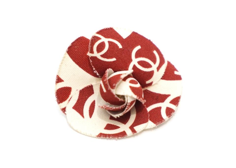 Chanel Red and White Logo Cc Printed Camilla Flower Pin Brooch