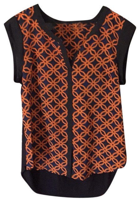 Item - Black Navy and Orange Blouse Size 8 (M)