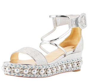Christian Louboutin Holographic Buckle silver Sandals