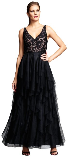 Item - Black Nude Ruffled Lace V-neck Gown Tiered Tulle Skirt Long Formal Dress Size 10 (M)