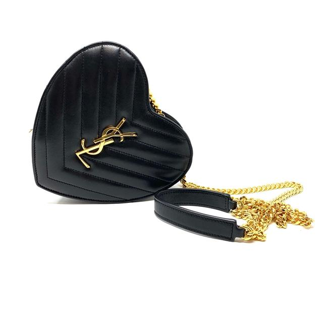 Item - Chain Ysl Small Love Heart Black and Gold Leather Cross Body Bag