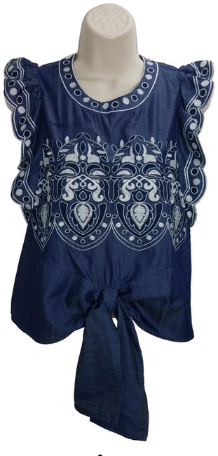 Preload https://img-static.tradesy.com/item/25460829/joa-blue-anthropologie-stitched-knot-s-blouse-size-4-s-0-1-650-650.jpg