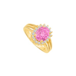 Marco B Pink Sapphire CZ Split Shank Halo Ring in Yellow Gold