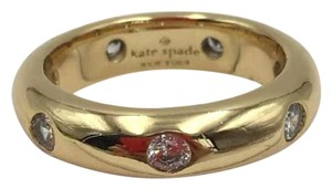 Kate Spade KS New York Gold Band Clear Crystal Chunky Solid Band Ring Size 7