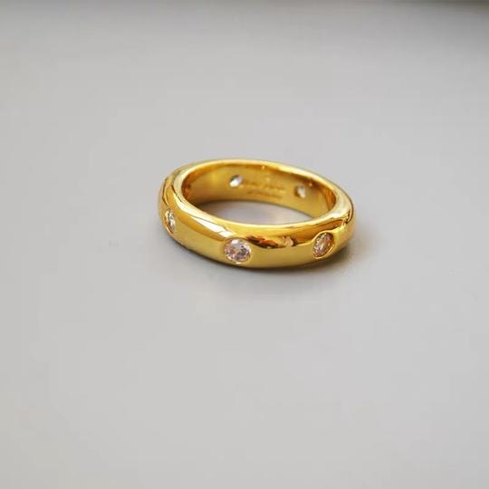 Kate Spade KS New York Gold Band Clear Crystal Chunky Solid Band Ring Size 7 Image 1