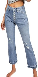 Free People Raw Hem Cropped Distressed Shank Fly Boot Cut Jeans