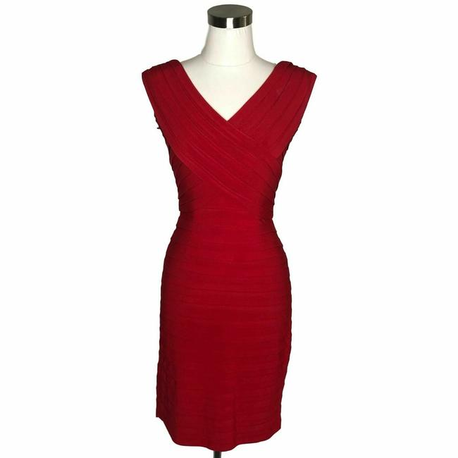Item - Red N747 Designer Striped Bodycon Sleeve Short Formal Dress Size 6 (S)