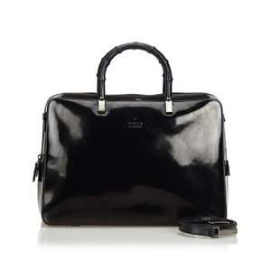 Gucci 9egust005 Vintage Patent Leather Satchel in Black