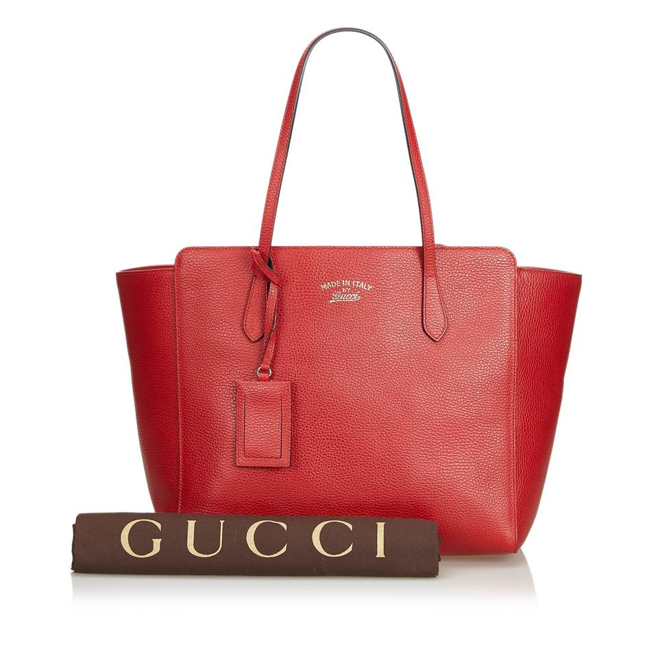 60605f7173c Gucci Bag Swing W Italy Dust Large Red Leather Tote - Tradesy
